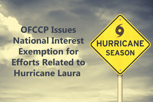 OFCCP Issues National Interest Exemption for Efforts Related to Hurricane Laura