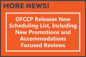 OFCCP Releases new scheduling list