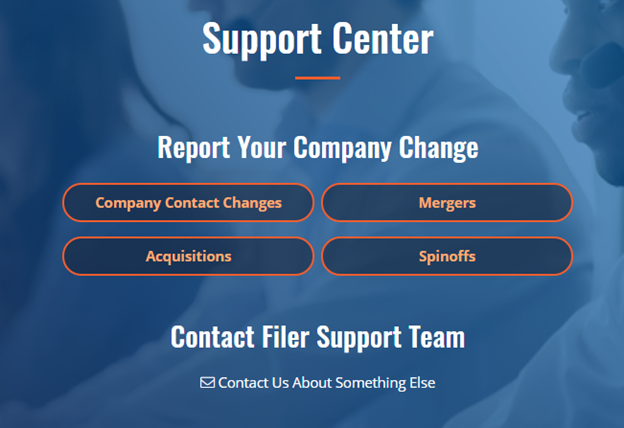 Support Center - Report Your Company Change