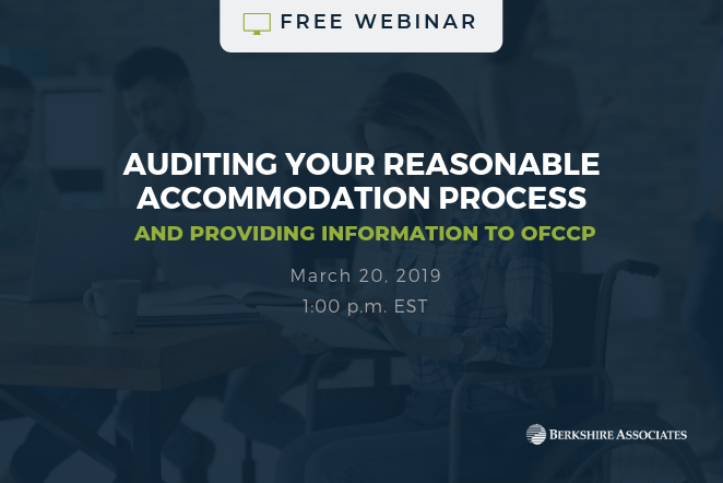 Register for a Free Webinar on Auditing Your Reasonable Accommodation Process & Providing Information to OFCCP